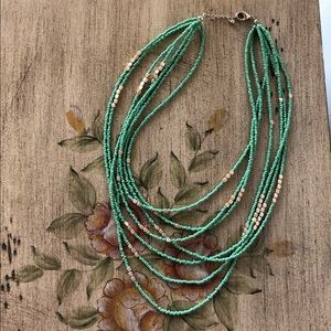Jewelry - Green and gold beaded necklace